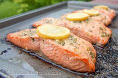 Baked Salmon with Garlic and Dijon   NatashasKitchen.com