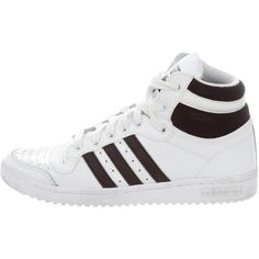 Pre-owned Adidas Top Ten High-Top Sneakers ($75) ❤ liked on Polyvore featuring shoes, sneakers, black, black sneakers, black leather high tops, adidas trainers, black leather sneakers and black hi top sneakers