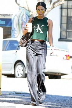 Vanessa Hudgens wearing Balenciaga Brief Bag, Vince Camuto Elric Platform Sandal, Calvin Klein Logo Cropped Tank Top and Jacquie Aiche Black Quartz Teardrop Bar Hoop Earrings