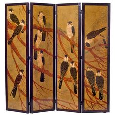 André Ducaroy, Rare Four-Panel Lacquered Screen, France, C. Japanese Screen, Japanese Art, Dressing Screen, Wooden Screen, Decorative Screens, Room Screen, Southwest Art, Dream Decor, Art Nouveau