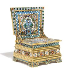A silver-gilt and cloisonné enamel salt chair, Ovchinnikov, Moscow, 1891 - decorated with stylised flowers and scrolling leaves on stippled grounds within geometric and turquoise bead borders, 88 standard height 3 in. Russian Art, Trinket Boxes, Sculpture Art, Antique Silver, Art Decor, Art Nouveau, Old Things, Enamel, Chair