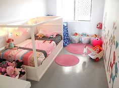 Love this kids bedroom with an ikea hack - painting it white -  small space idea : Momo Design #kidsbedrooms #kidsrooms #girlsrooms