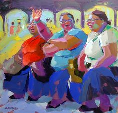 Artwork of Makiwa Mutomba exhibited at Robertson Art Gallery. Original art of more than 60 top South African Artists - Since Zimbabwe, Yellow Artwork, Baby Artwork, Contemporary Art Artists, South African Artists, People Art, Figure Painting, Black Art, Amazing Art