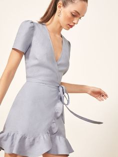 Reformation Sally Dress - Never met a wrap dress we didnt like. This is a mini length wrap dress with a center back keyhole and ruffle edged hem. Cute Dresses, Casual Dresses, Short Dresses, Casual Outfits, Fashion Dresses, Summer Dresses, Wrap Dresses, Women's Fashion, Formal Dresses