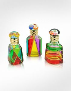 Due Zeta Marco Polo Hand Decorated Murano Glass Murrina - Capped Perfume Bottles - want to DIY something similar to this