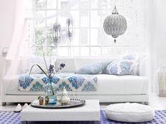 white, blue, purple & silver