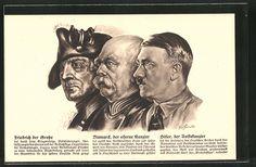 old postcard: Künstler-AK Friedrich der Große, Eiserner Kanzler Otto von Bismarck, Volkskanzler Adolf Hitler, Porträts