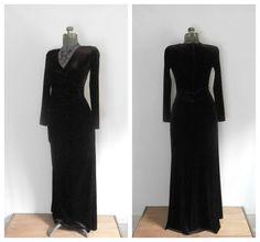 1980s Brown Velvet Velour Maxi Dress Tadashi by rileybella123, $65.00