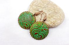 Round Polymer Clay Earrings - Stylish Handmade Long Earrings in Green and  copper Colours! by SweetyBijou on Etsy