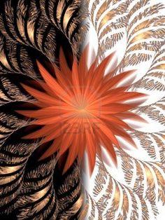 Schwarze und weiße Hintergrund. Ogange Blume Fraktale. Gutes Design (Karte oder Poster) Stockfoto