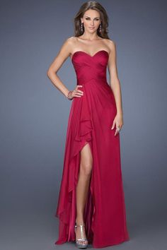 2014 Sweetheart Neckline Chic Dress Pleated Bodice A Line #Chiffon With Slit