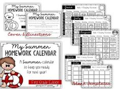 Year Long Monthly Homework Calendars  Homework Common Core