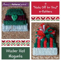 "❄ Just chillin'! ❄ WINTER HAT Magnets -- part of ""Hats Off to You!"" pattern -- available NOW at e-PatternsCentral!"