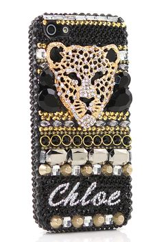 3D Black Cheetah Personalized Name & Initials Design phone case |  Designer iPhone 5 5s 5c cases awesome esty accessories for teens
