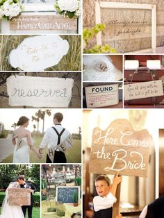 """I like theses signs--esp. the ringbearer carrying the """"here comes the bride"""" sign"""