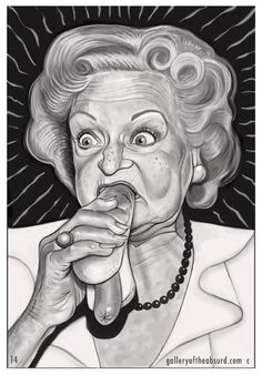 Betty White eating a hotdog, c/o Gallery of the Absurd.