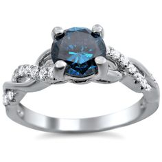 Shop for White Gold TDW Certified Round-cut Blue Diamond Engagement Ring. Get free delivery On EVERYTHING* Overstock - Your Online Jewelry Destination! Cinderella Engagement Rings, Round Diamond Engagement Rings, Round Diamonds, White Diamonds, Colored Diamonds, Diamond Cuts, Wedding Rings, Wedding Jewelry, White Gold