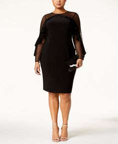 R & M Richards Plus Size Illusion Ruffle Sheath Dress - Tan/Beige Party Dresses Online, Holiday Party Dresses, Plus Size Cocktail Dresses, Plus Size Dresses, Daytime Dresses, Evening Dresses, Plus Size Activewear, Review Dresses, Dresses With Leggings