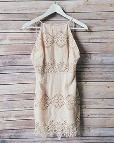 Spaghetti strap top features a scalloped crochet hemline and square neckline Crochet Lace Dress, Dress Link, Beige Dresses, Summer Essentials, Rompers, Style Inspiration, Clothes For Women, My Style, Dorm Closet