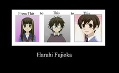The Evolution of Haruhi Fujioka 1).girly pretty 2).Casually akwark guy 3).Cute guy (But it's a girl....what?!? lol)^^