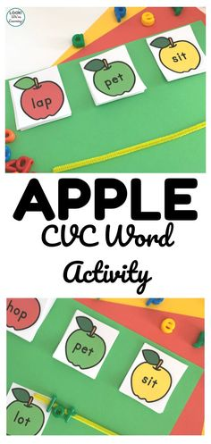 Work on early literacy skills with this fun fall apple CVC word literacy activity! Short Vowel Activities, Apple Activities, Autumn Activities For Kids, Literacy Skills, Early Literacy, Literacy Activities, Toddler Preschool, Toddler Activities, Fallen Book