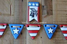 4th of July Cookies~                      By Yankee Girl Yummies, red white blue, bunting