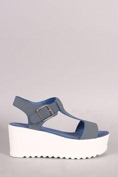 15c5154ed61f Bamboo Denim T-Strap Open Toe Lug Sole Flatform Casual Boots
