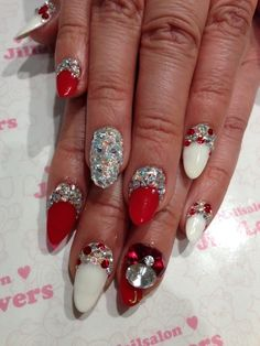 Red  Bejeweled Nails☆ | Jill