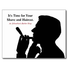Remind gentlemen clients and customers of their upcoming haircut with these simple barber shop appointment reminder postcards with a silhouette image of a man shaving. Personalize these hair salon for men hair appointment reminders by adding the name and contact info of the hair stylist on the back.