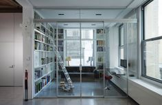 Architecture Design, Library Design With Cube And Glass Decoration And Sliding Door Union Square Loft 11: Exciting Union Square Loft by Naiztat and Ham Architects