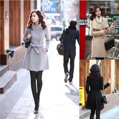 I love that high collar slim-fit tied wool coat on the left..