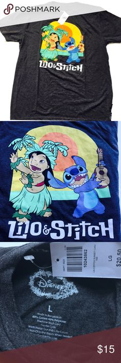 Make an Offer NWT dark gray tee from Disney featuring appliqué of Lilo and Stitch.   ☑️ Size Large  ☑️ No tears, holes, stains, fading or defects.   ☑️ I accept all reasonable offers!!  ☑️ As always, all items are from a smoke-free pet-free home.   ☑️ Thanks for shopping Reclaimed Treasure Resale. Hot Topic Tops Tees - Short Sleeve