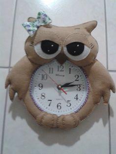 Relógio de parede coruja   Lela´s Artesanatos   31D924 - Elo7
