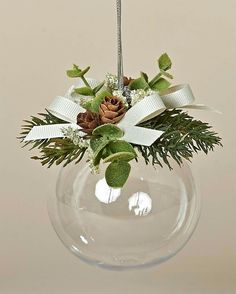Add some fake snow and pine cones inside Acrylic Ball Ornament with Faux Pine, Tiny Pine Cones and Ivory BowsPin by Margaret Berthold on Christmas & winter crafts Christmas Ornament Crafts, Diy Christmas Ornaments, Homemade Christmas, Rustic Christmas, Christmas Projects, Holiday Crafts, Christmas Holidays, Xmas Decorations, Pine Cones