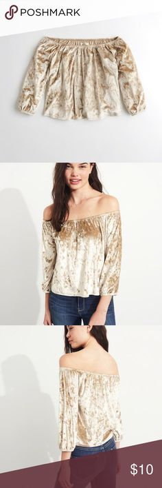 HOLLISTER VELVET TOP So this velvet off the shoulder top from Hollister is super cute and comfortable🐵Whether you are wearing this to a party 🎉or family get together👨👩👧👦, or just going out to run some errands🏃♀️, this top is perfect.😜It's soft and velvet  (who wouldn't love that😍) and it's affordable! Yay😆  PS: i will have pictures of me in it soon so you guys can see what it looks like on someone who isn't a model😉 Hollister Tops Blouses