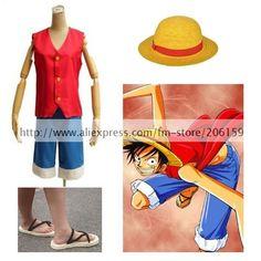 3b04710748b3e Comprar Una pieza del mono D luffy Cosplay del traje con luffy sombrero  Zapatos hombres chaleco Top Pantalones cortos para Halloween conjunto  completo ropa