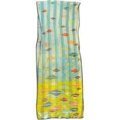 Anne Klein Summery Silk Scarf Bright Colors Diamonds Stripes