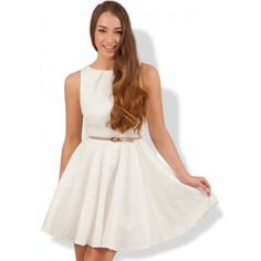 Closet Ivory Jacquard Flare Dress