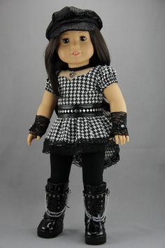 """American Girl doll clothes - 4 piece punk style outfit (fits 18"""" doll) (428blk)"""