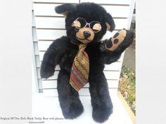 "GEEK Black Teddy Bear Plush 28"" Original Dee Zick OOAK Stuffed Toy tie _glasses"