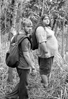 """LOST - Charlie and Hurley  Hurley: """"Did either of you see a guy run through here…in a bathrobe…with a coconut?""""  Charlie: """"No… I saw a polar bear on rollerblades with a mango."""""""