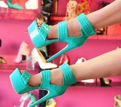 Zapatillas de plataforma color menta