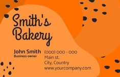 A creative template for a bakery business card. A bright orange background with black text displaying 'Smiths Bakery.