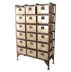 Mailroom Industrial Vintage Iron 18 Drawer Storage Cabinet