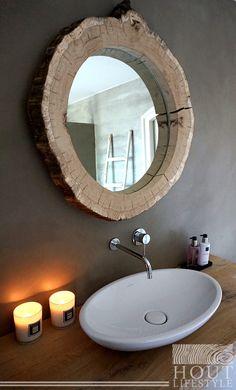 Maak je badkamer stoer, luxe en romantisch met deze boomschijf spiegel!! Resin Furniture, Wood Creations, Home Decor Inspiration, Toilet, Sweet Home, New Homes, Interior Design, Mirror, Bathroom