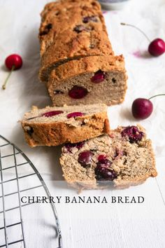 Try my gluten-free Cherry Banana Bread when you're in the mood for a healthy treat. With no sugar added, it's loaded with naturally sweet ingredients like ripe bananas, cherries, and vanilla. It's delicious for breakfast or even dessert! #bananabreadrecipe #easybananabread #glutenfree #glutenfreebaking #sugarfreebaking