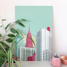 N E W Y O R K C I T Y🌎 . Habillez vos murs avec de la couleur ! . L'artiste @remkoheemskerk revisite les villes par l'architecture et des couleurs pastels🏢💚 . Tableau à retrouver sur www.labellegalerie.co - lien dans la bio💭 . #architecture #newyork #pastel