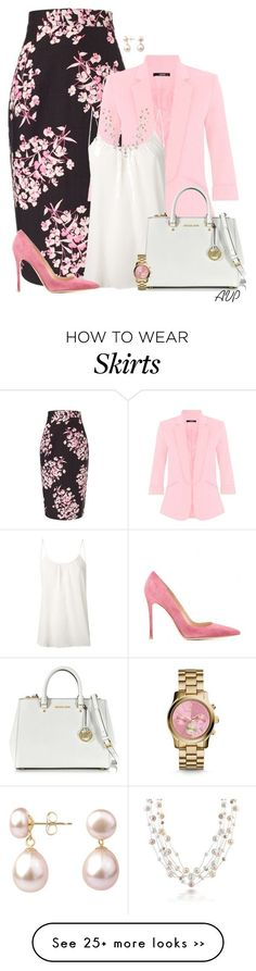 """Jonathan Saunders Black Sakura Floral Skirt"" by amy-phelps on Polyvore"