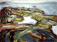 """Edvard Munch (1863-1944) - """"Paysage côtier"""" (1918)  Huile sur toile (161 x 121)"""