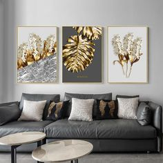 Abstract Tropical Gold Wall Art Nordic Style Golden Botanic Floral Fin – NordicWallArt.com Gold Wall Art, Leaf Wall Art, Wall Art Decor, Botanical Wall Art, Gold Walls, Office Wall Art, Living Room Pictures, Living Room Paint, Flower Wall